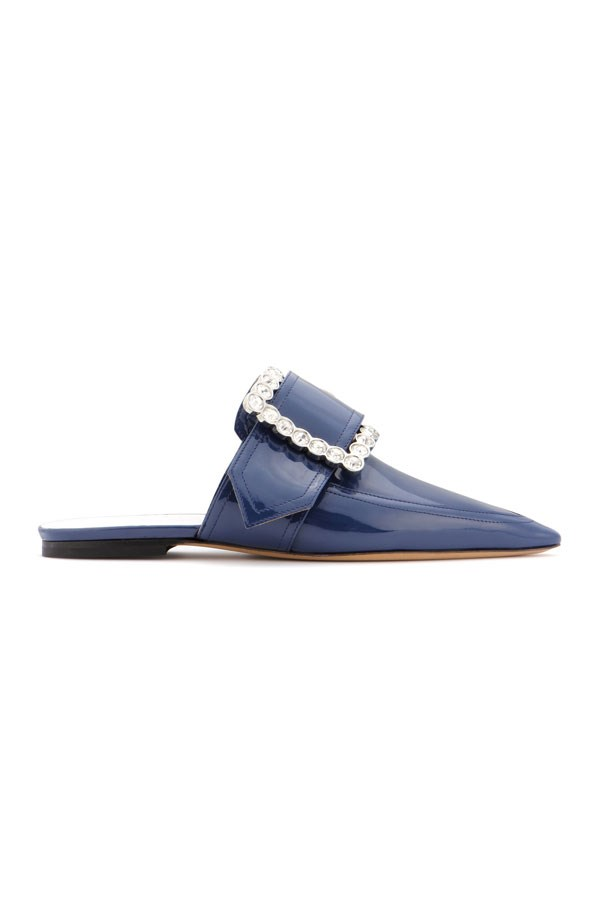 "Flats, $1,285, Maison Margiela at <a href=""http://www.mytheresa.com/en-au/maison-margiela-kristallverzierte-mules-aus-lackleder-734941.html?catref=category"">MyTheresa</a>"