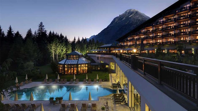 """<a href=""""http://www.booking.com/hotel/at/interalpen-tyrol.html""""><strong>Interalpen-Hotel Tyrol</strong></a> You'll be too busy taking in the incredible views of the Tyrolean Alps and the nearby 'sauna village' to feel lonely. Table for one, thanks."""