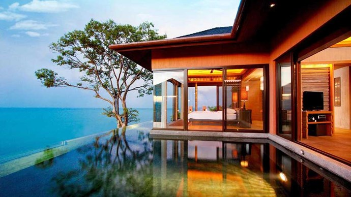 """<a href=""""http://www.booking.com/hotel/th/sri-panwa-phuket.en-gb.html?aid=356987;label=gog235jc-hotel-XX-th-sriNpanwaNphuket-unspec-au-com-L%3Aen-O%3AosSx-B%3Achrome-N%3AXX-S%3Abo-U%3AXX;sid=fcb6a8f9d6e474b18df809032f7d34a8;dist=0&group_adults=2&sb_price_type=total&type=total&""""><strong>Sri Panwa Phuket Luxury Pool Villa Hotel</strong> </a> Make the most of your solo escape by perching yourself on top of Cape Panwa in a private villa, complete with an infinity pool, ocean views all the way to the horizon and rainforest surrounds."""