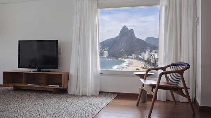 """<a href=""""http://www.booking.com/hotel/br/caesar-park-rio-de-janeiro-ipanema.html?aid=357836""""><strong>Caeser Park Ipanema</strong></a> This hotel's unobstructed view of Rio's famous Sugarloaf Mountain and Ipanema beach is as fabulous as the chic, mid-century interiors. Just remember you're not there to hole up in a hotel the entire time."""