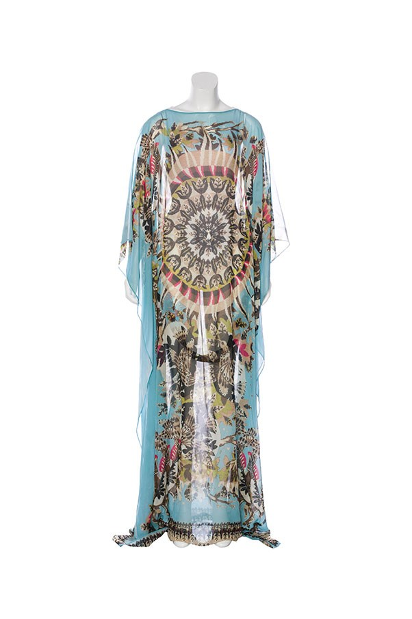 "Kaftan by Roberto Cavalli, $531 at <a href=""https://www.therealreal.com/products/women/clothing/dresses/roberto-cavalli-kaftan-maxi-dress"">The Real Real</a>."