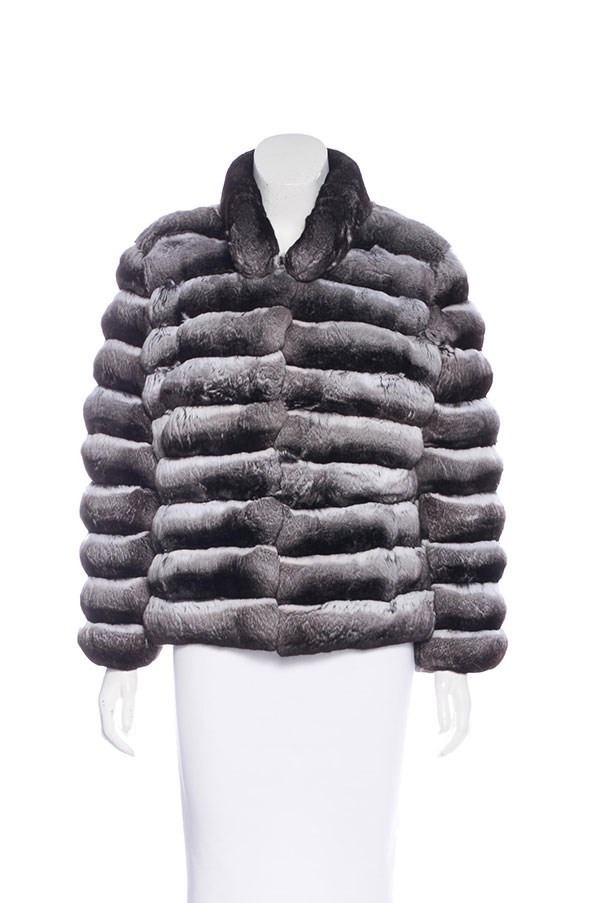 "Chinchilla fur jacket, $3,632 at <a href=""https://www.therealreal.com/products/women/clothing/jackets/fur-chinchilla-fur-jacket"">The Real Real</a>."