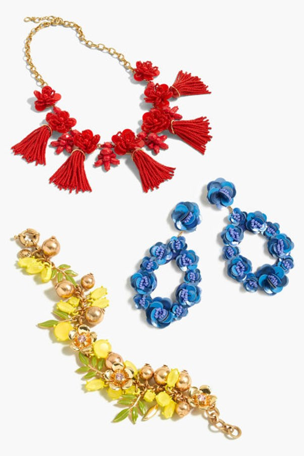 """<strong>1. Statement Jewelry</strong> <p><p> J. Crew made it ok to pile on loud costume jewelry with jeans and a tee. We've eased back on the collar necklace in recent years and quickly replaced it with shoulder danglers.  But the colorful origin of this trend in its modern iteration solely belongs to J. Crew. <p><p> Honeymoon Tassel Necklace, $223 AUD; <a href=""""https://www.jcrew.com/au/p/G3632?srcCode=AFFI00005&siteId=TnL5HPStwNw-Brpv6osS9hWY4u9agwCWdg"""">jcrew.com</a> <p><p> Leather-Backed Sequin petal Earrings, $113 AUD; <a href=""""https://www.jcrew.com/au/p/G6873"""">jcrew.com</a> <p><p> Lemon Tree Charm Bracelet, $84 AUD ; <a href=""""https://www.jcrew.com/au/p/G3747"""">jcrew.com</a>"""
