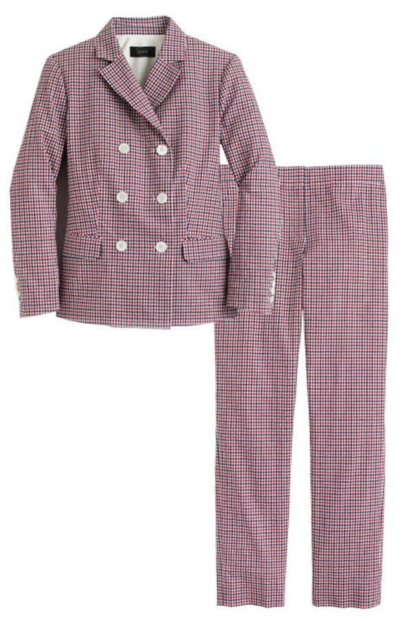 """<strong>5. Accessible Suits</strong> <p><p> Suits can be difficult to feel at ease in. J.Crew added an aforementioned statement bracelet, a contrasting jewel-toned pump, or styled it with an editor-favorite t-shirt. This season they did us one even better with this vintage-inspired plaid set. <p><p> Double Breasted Blazer, $345 AUD; <a href=""""https://www.jcrew.com/au/p/womens_category/suiting/novelty/doublebreasted-blazer-in-red-tattersall/G1124?srcCode=AFFI00005&siteId=TnL5HPStwNw-x73WkCLc._BXX4Z9lKkMVg"""">jcrew.com</a> <p><p> Paley Pant, $240 AUD; <a href=""""https://www.jcrew.com/au/p/womens_category/suiting/novelty/paley-pant-in-red-tattersall/G1126?srcCode=AFFI00005&siteId=TnL5HPStwNw-FMWSQtHIoVv3QyyV6Pe19A"""">jcrew.com</a>"""