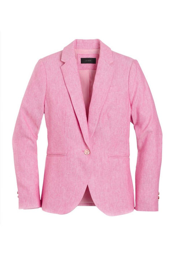 """<strong>8. Think Pink</strong> <p><p> Before Millennial Pink became the phrase you hated to love, there was Lyons at the Met Gala in 2012. Her approachable take on magenta reminded everyone that pink doesn't have to be limited to frilly dresses, styling her skirt with a casual denim jacket. <p><p> J. Crew Campbell Blazer, $292 AUD; <a href=""""https://www.jcrew.com/au/p/womens_category/blazers/campbell/campbell-blazer-in-linen/G0993?color_name=brilliant-azalea&srcCode=AFFI00005&siteId=TnL5HPStwNw-3cID6F1Yfg4u.B9vZB133A"""">jcrew.com</a>"""