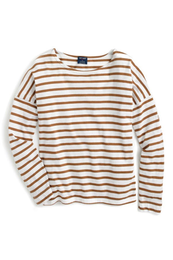 """<strong>9. Striped Shirt</strong> <p><p> Sure, the bateau shirt is a classic, but it took on new verve under Lyons. She reimagined the look with aforementioned embellishments and collaborated with two striped heavyweights: Comme des Garcons' play shirts and the pictured partnership with Saint James (the OG Normandy striped shirt label). <p><p> Saint James for J.Crew Slouchy T-Shirt, $156 AUD; <a href=""""http://www.elle.com/fashion/shopping/g29742/jenna-lyons-jcrew-style-moments-history/"""">jcrew.com</a>"""