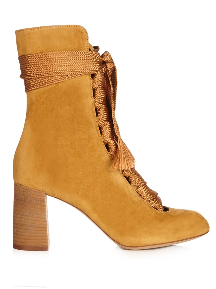 """Boots, $1,223, Chloé at <a href=""""http://www.matchesfashion.com/au/products/Chlo%C3%A9-Harper-lace-up-suede-ankle-boots-1052481"""">Matches Fashion</a>"""