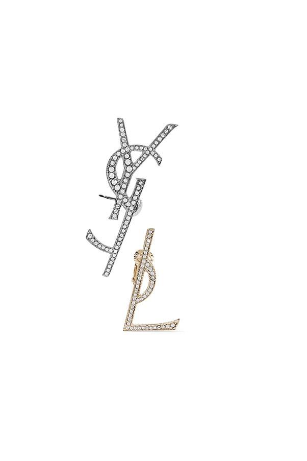 "Clip earrings by Saint Laurent, $682 at <a href=""https://www.net-a-porter.com/au/en/product/859761/saint_laurent/gold-and-gunmetal-tone-swarovski-crystal-clip-earrings"">Net-a-porter.com</a>"