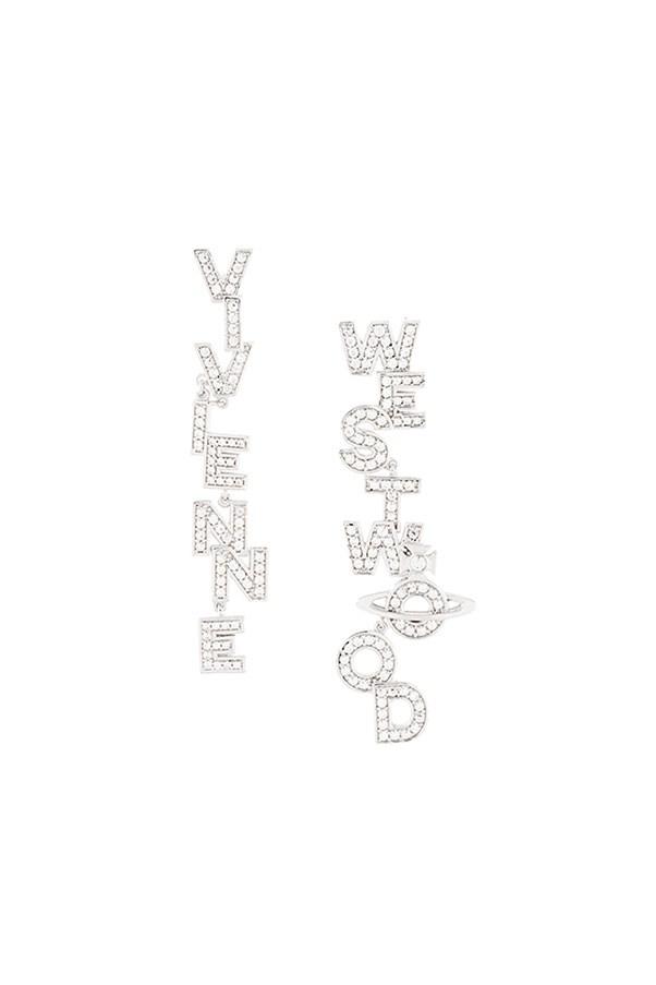 "Earrings by Vivienne Westwood, $191 at <a href=""https://www.farfetch.com/au/shopping/women/vivienne-westwood--soho-large-letter-stud-drop-earrings-item-12030905.aspx?storeid=9446&from=listing&ffref=lp_pic_308_1_"">Farfetch.com</a>"