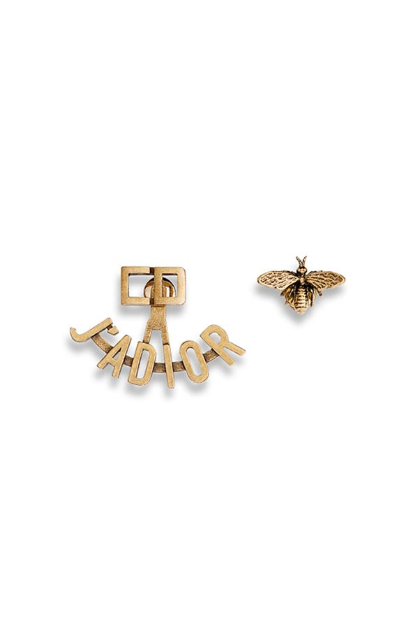 """Earrings by Dior, price on application at <a href=""""http://www.dior.com/couture/en_int/womens-fashion/accessories/earrings/j-adior-earrings-in-gold-tone-finish-aged-metal-17-38733#"""">Dior.com</a>"""