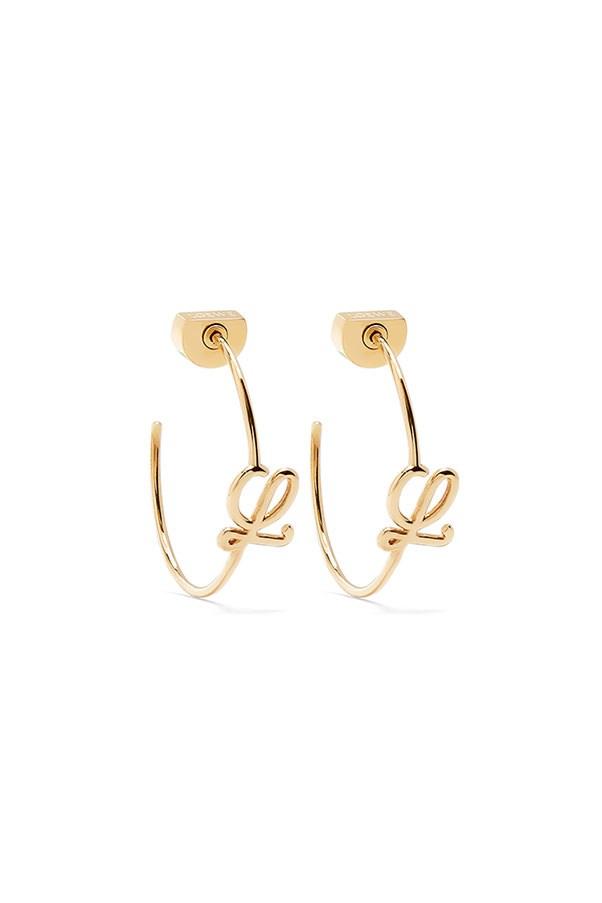 "Earrings by Loewe, $310 at <a href=""http://www.matchesfashion.com/au/products/Loewe-Logo-twist-hoop-earrings-1077638"">Matchesfashion.com</a>"