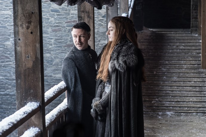 """<p>Petyr Baelish and Sansa Stark.<p> <em>Image via <a href=""""http://www.makinggameofthrones.com/production-diary/get-look-exclusive-photos-game-of-thrones-season-7"""">HBO</a></em>."""