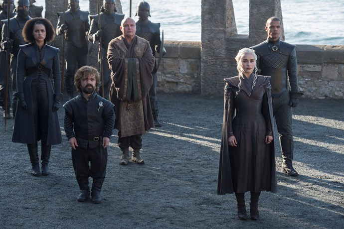 """<p>Daenerys Targaryen and her court.<p> <em>Image via <a href=""""http://www.makinggameofthrones.com/production-diary/get-look-exclusive-photos-game-of-thrones-season-7"""">HBO</a></em>."""