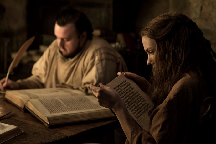 """<p>Sam Tarly and Gilly.<p> <em>Image via <a href=""""http://www.makinggameofthrones.com/production-diary/get-look-exclusive-photos-game-of-thrones-season-7"""">HBO</a></em>."""