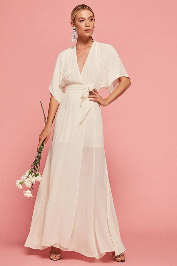 "'Winslow' dress, approx. $356 at <a href=""https://www.thereformation.com/products/winslow-dress-ivory"">Reformation</a>"