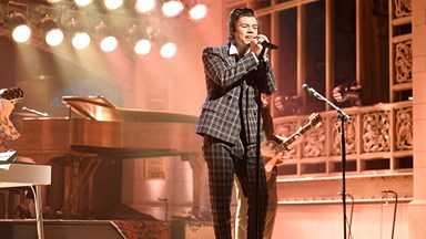 Harry Styles Can't Stop Wearing Head-To-Toe Gucci