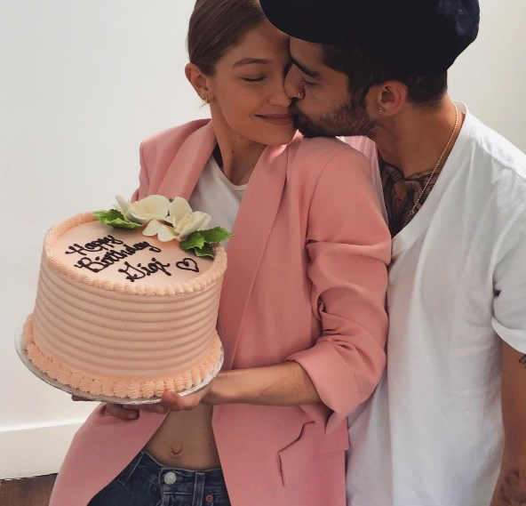 On her birthday, Gigi posted this picture of her and Zayn celebrating together.