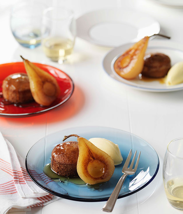 Spiced financieres with poached pears and vanilla ice-cream :: Gourmet ...
