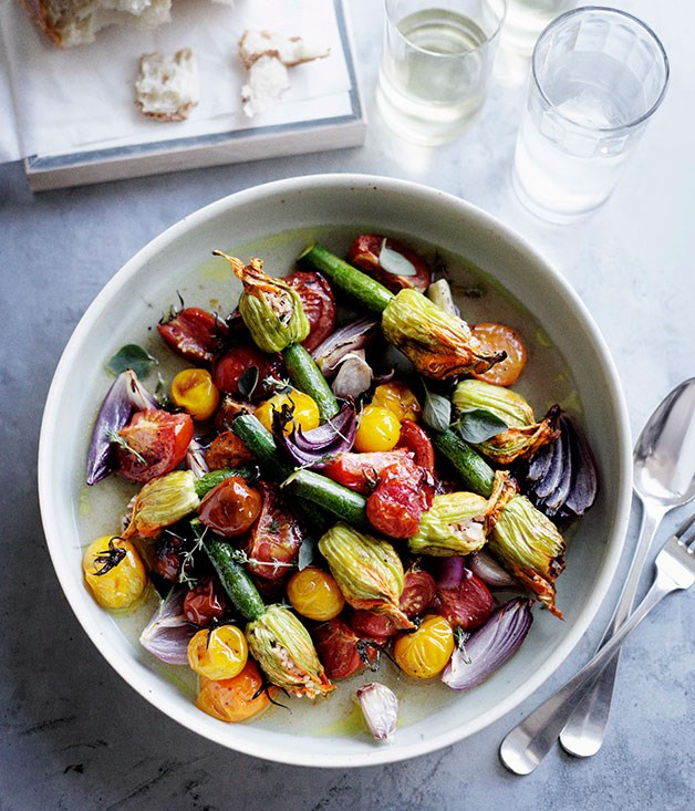 Roast stuffed zucchini flowers with tomato and oregano recipe ...