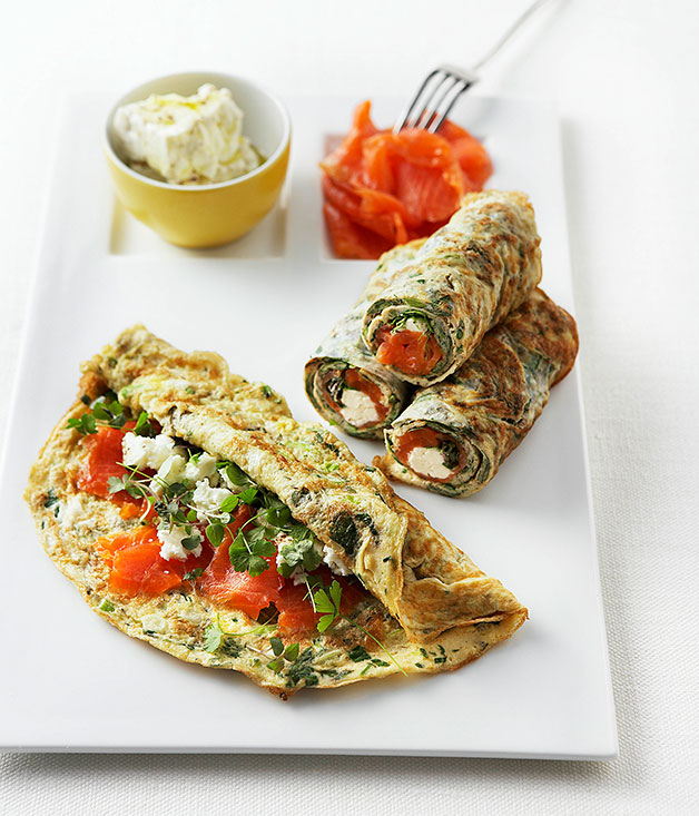 Thin herb frittatas with feta and smoked ocean trout ...