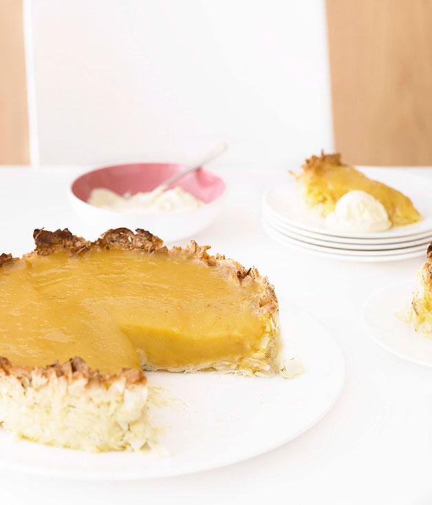 Kaffir lime and coconut tart :: Gourmet Traveller