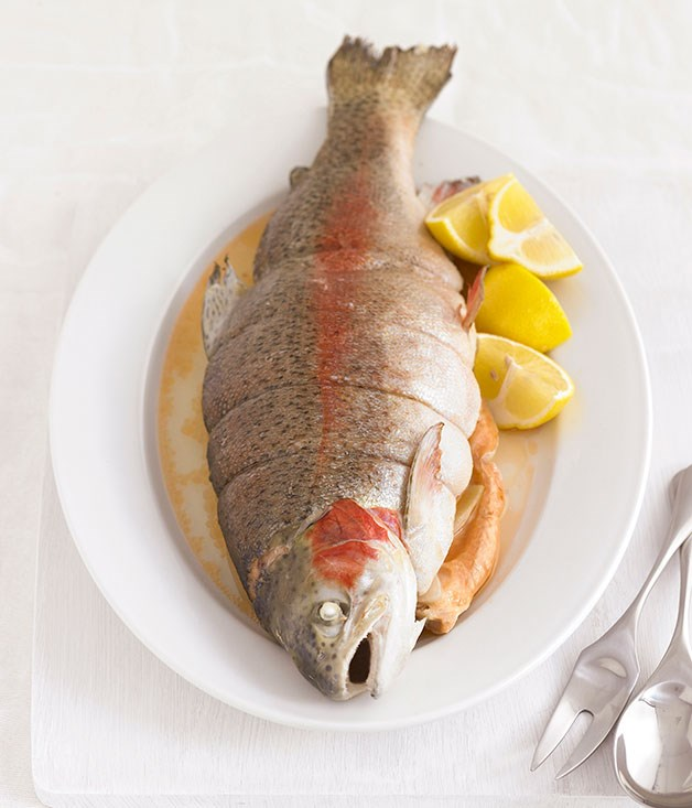 Poached ocean trout gourmet traveller for Poaching fish in wine