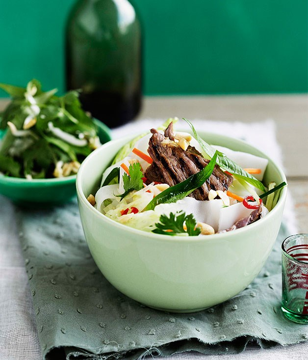 Vietnamese lemon grass beef and rice noodle salad ...