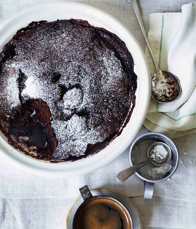 Self-saucing chocolate and almond milk pudding :: Gourmet Traveller