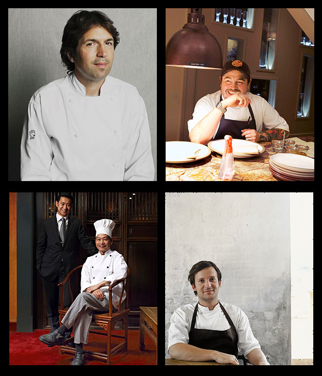 Clockwise from top left: Attica's Ben Shewry, Sean Brock of Husk, Jason and Anthony Lui of Flower Drum and René Redzepi of Noma.