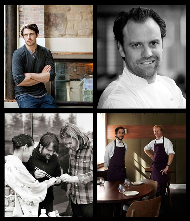 Clockwise from top left: René Redzepi of Noma and Magnus Nilsson of Fäviken, James Henry of Bones, Daniel Puskas and James Parry of Sixpenny and Brett Graham of The Ledbury.