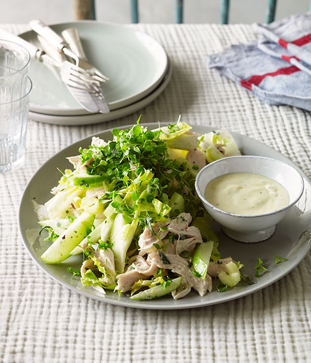 Roast chicken salad with cider, apple and witlof recipe   French salad ...