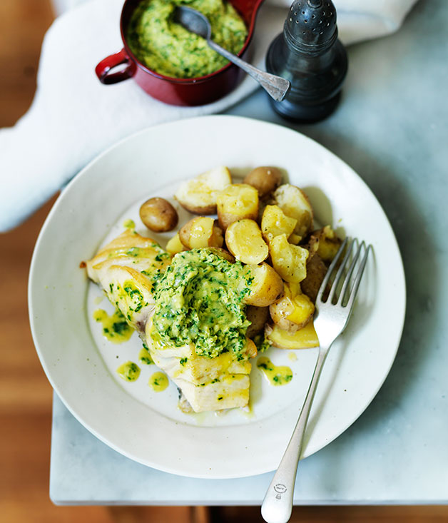 Roast blue eye trevalla with spinach hollandaise recipe for French fish recipes
