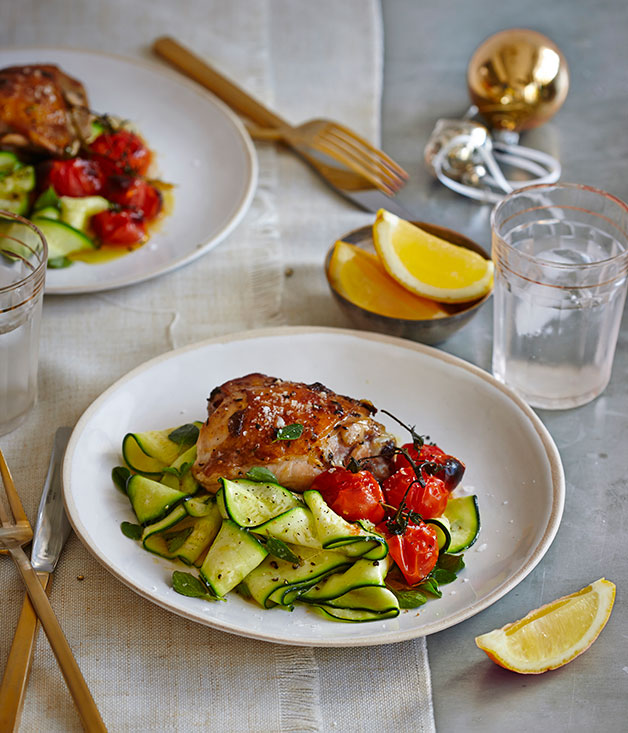 Lemon-thyme chicken with roast tomato and zucchini salad ...