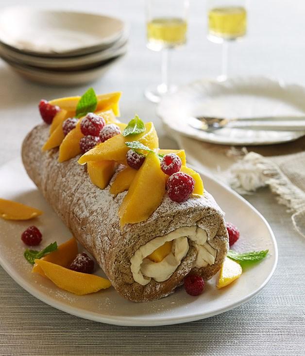 ginger sponge roulade with mango ripple cream recipe gourmet traveller. Black Bedroom Furniture Sets. Home Design Ideas