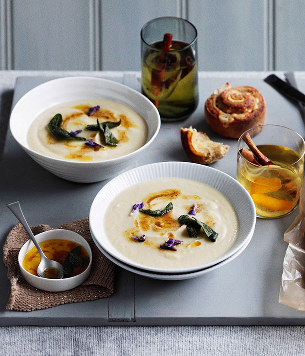 Roast garlic and parsnip soup with lemon butter and sage for 10 calorie soup gourmet cuisine