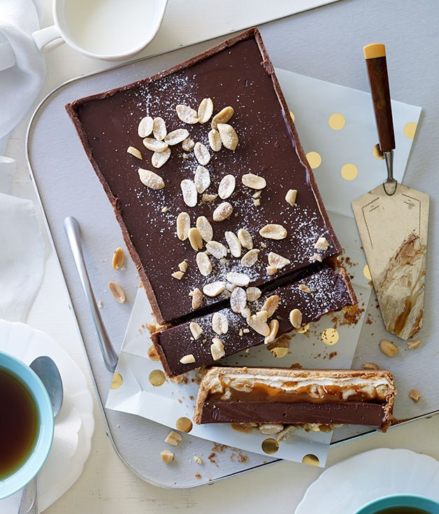 Nougat, salted peanut caramel and milk chocolate tart recipe ...
