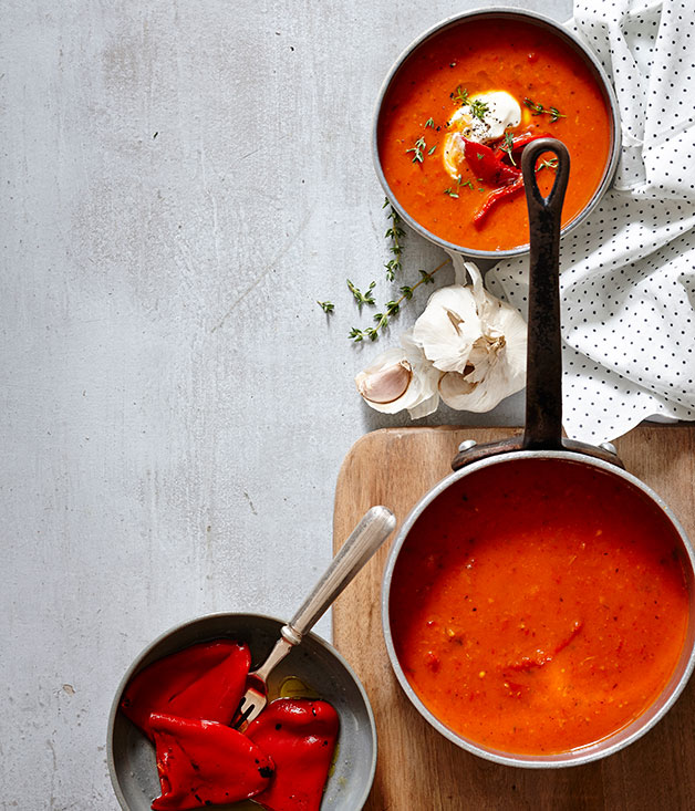 Roast red capsicum and saffron soup