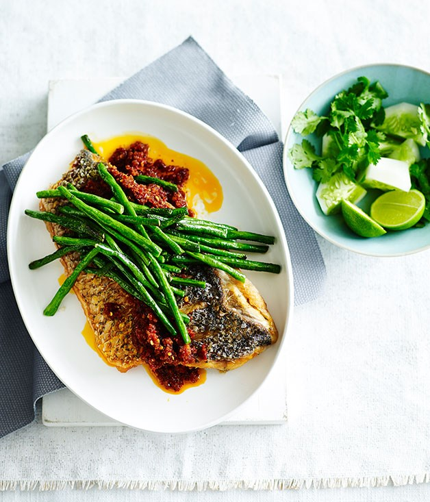 Crisp fish with sambal and snake beans indonesian for Gourmet fish recipes