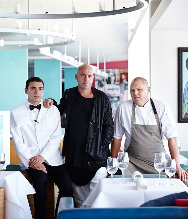 Maurice Terzini (centre) with son Sylvester (left) and chef Monty Koludrovic
