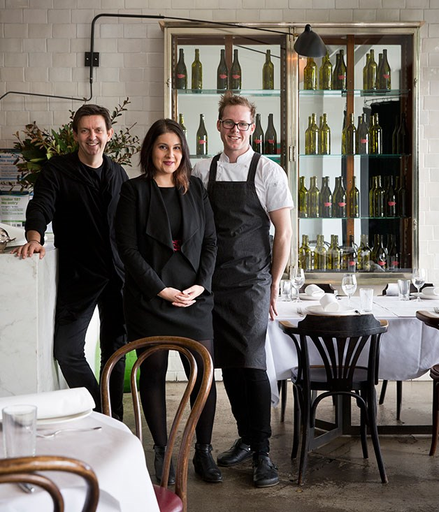 Luxembourg co-owner Andrew McConnell, chef Chris Watson, sommelier-manager Olga Retzepoglou