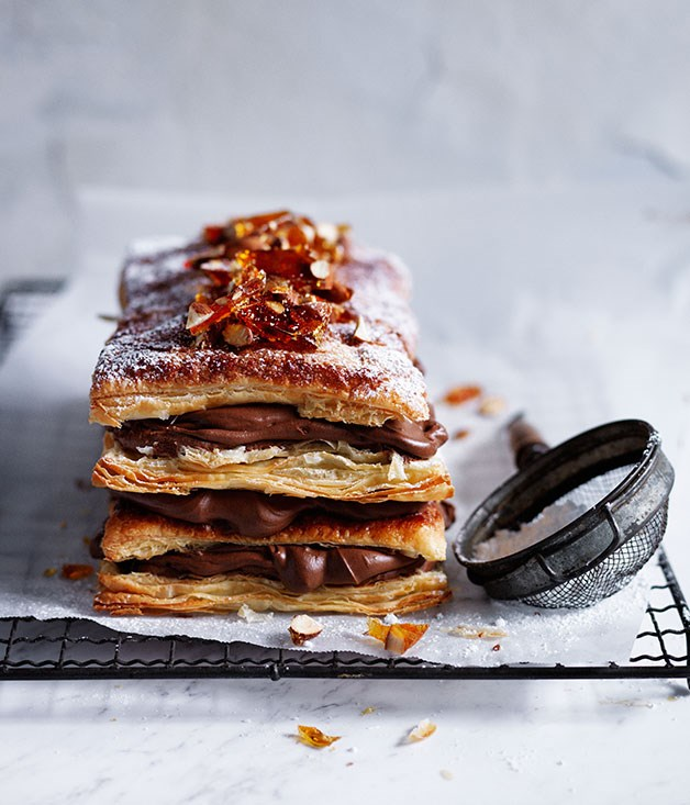 Chocolate and almond millefeuille recipe :: Gourmet Traveller