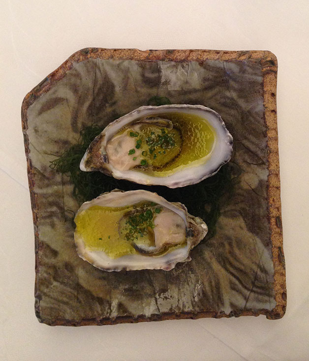 Oysters with Kochi yuzu, ginger and olive oil