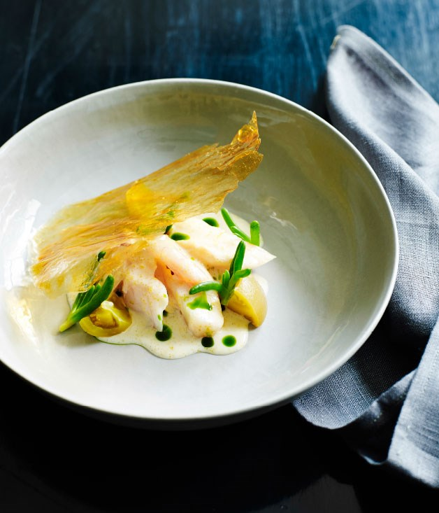 Bass groper with fish milk green tomato and potato paper for Gourmet fish recipes