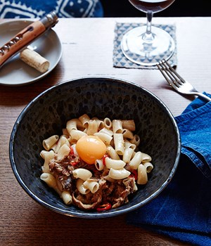 Hand-cut macaroni with pig's head and egg yolk