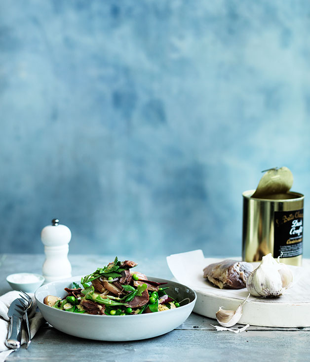 Duck, beetroot and rocket salad with duck-fat potatoes
