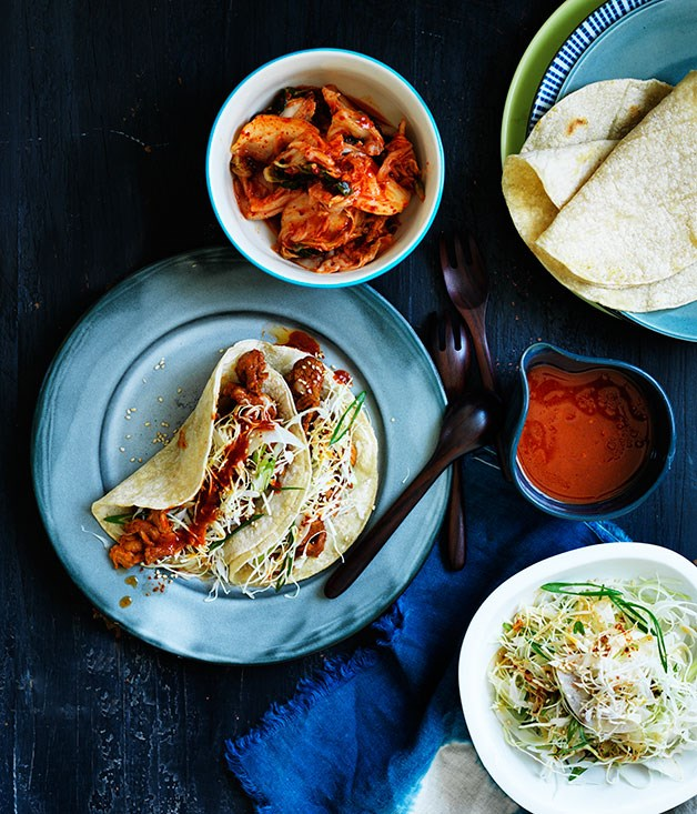 Bulgogi pork tacos with nashi slaw recipe :: Gourmet Traveller
