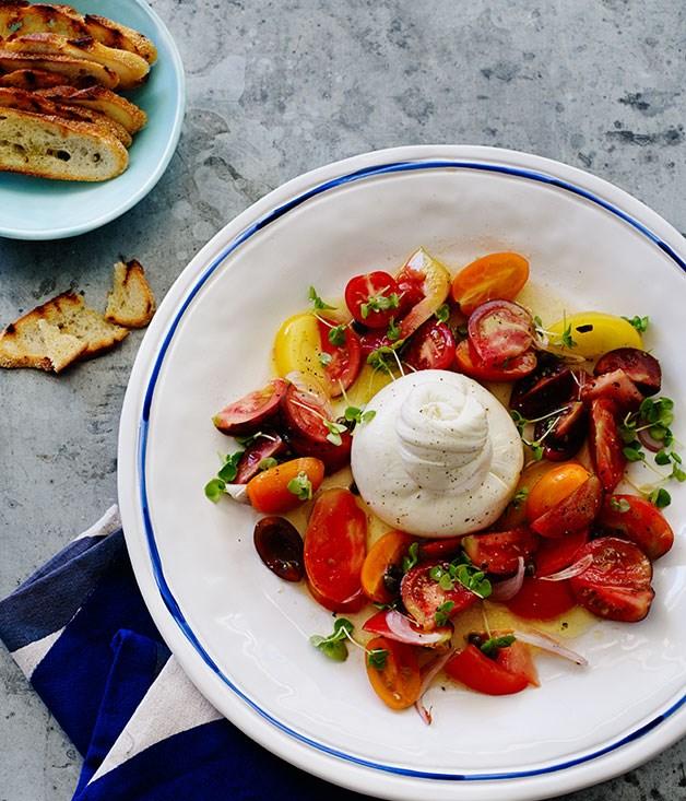 Mixed tomato salad with burrata recipe gourmet traveller mixed tomato salad with burrata sisterspd