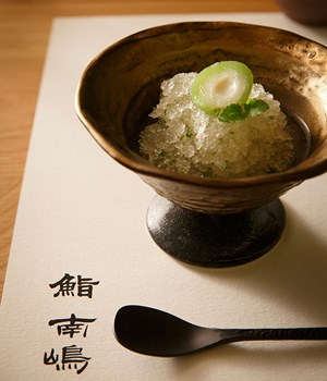 Nigori sake jelly with yuzu granita and sweet pickled baby peach