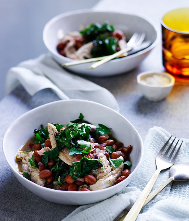 Braised chicken with pancetta, borlotti beans and kale ...