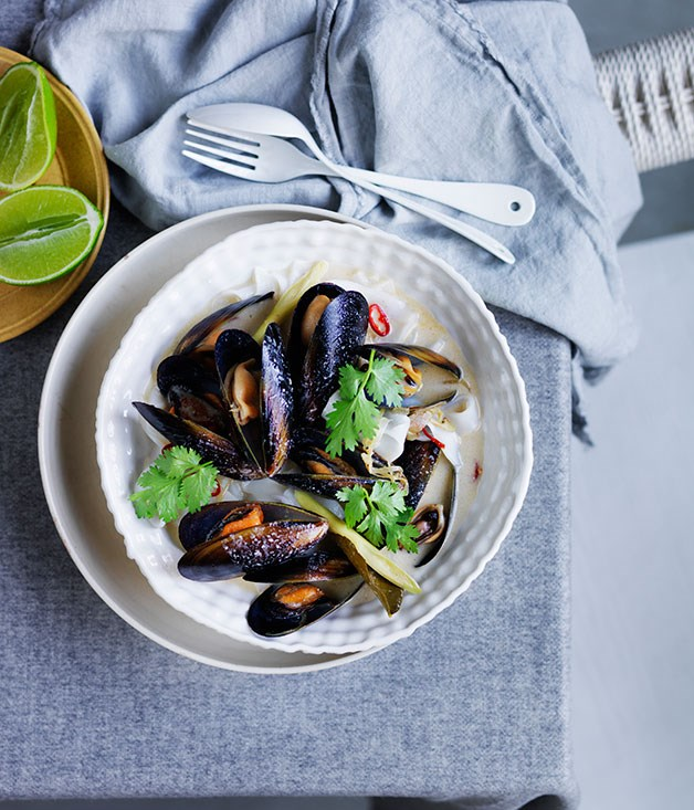 Thai-style mussels and noodles in lemongrass-coconut broth recipe ...